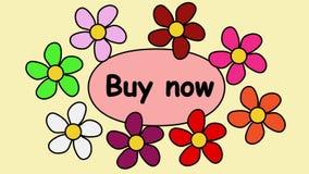 Рекламирующ зажим видео- 4k с покупкой надписи теперь Цветки летая вокруг покупки текста теперь