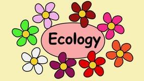Рекламирующ зажим видео- 4k с экологичностью надписи Цветки летая вокруг надписи экологичности