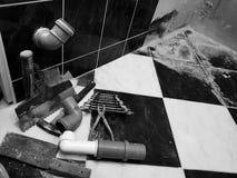 Ремонт - здание с инструментами бьет молотком, кувалда и ключи стоковая фотография rf
