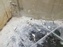 Реновация Bathroom и выровнянные стены стоковые изображения
