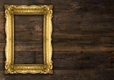 Ретро картинная рамка старого золота возрождения деревенская стоковые изображения rf