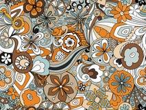 Ретро унылое флористическое в апельсине, Брауне и сини стоковое фото