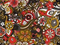 Ретро унылое флористическое в Брауне, красном цвете и мустарде стоковое фото rf