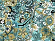 Ретро унылое флористическое в голубом и зеленом стоковые фотографии rf