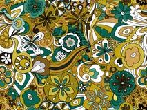 Ретро унылое флористическое в зеленом цвете, Брауне и мустарде стоковая фотография