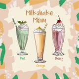 Рецепт набора Milkshake мяты, апельсина и вишни Элемент меню для кафа или ресторан с собранием напитков молока свежим свеже бесплатная иллюстрация
