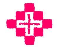 Рисуя медицина и крест логотипа иллюстрация штока
