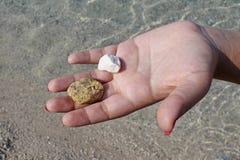Рука женщины держа небольшие камни на пляже стоковая фотография rf