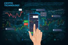 Crypto online commerce. Mining bitcoin technology. On autonomic computing program and trade platform. Online trading signals to buy and sell currency on the royalty free illustration