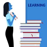 Girl with books on learning. The concept of successful students. Vector illustration. stock illustration