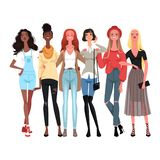 Group of cheerful young women in fashionable clothes. Girls are friends. Vector illustration stock illustration