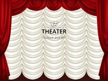 Background with stage, red and white theater curtains. Silk drape. Vector illustration vector illustration