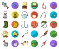 Рыбная ловля и мультфильм остатков, плоские значки в установленном собрании для дизайна Снасть для удить сеть запаса символа вект бесплатная иллюстрация
