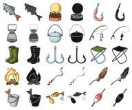 Рыбная ловля и мультфильм остатков, черные значки в установленном собрании для дизайна Снасть для удить сеть запаса символа векто иллюстрация вектора