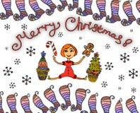 Рождественская открытка с небольшой яркой девушкой, рождественскими елками мультфильма, и украшенными игрушками рождества стоковая фотография