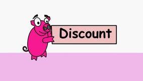 Розовая свинья носит рекламируя скидку Выдвиженческое видео для продавцов которые объявляют сокращения цен к их клиентам