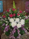 Розовые розы, белый Цейлон и пурпурные орхидеи стоковая фотография rf