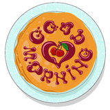 Рancakes on plate with sweet cherry confiture. Vector illustration. EPS10 Stock Photo