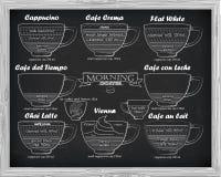 咖啡计划Ñ  appucino, crema, leche,拿铁,维也纳 图库摄影
