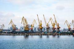 Ñ- argo Kräne im Hafen Stockfotos