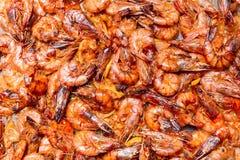 Рeap of fried shrimps close up. Рeap of roasted shrimps close up Stock Photography