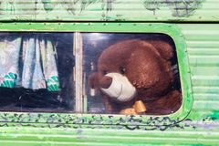Тeddy bear looking out of old caravan window. stock photos
