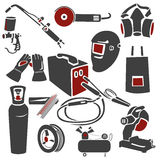 Set of welding and metal works icons Royalty Free Stock Image