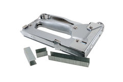 Construction stapler. сonstruction stapler with staples on a white background royalty free stock image