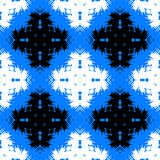 Рand painted pattern with bold ethnic motifs. Vector seamless bold hand painted pattern with bold ornamental ethnic motifs in bright blue, black and white Stock Image