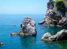 Тravel in kayak. Adriatic sea, travel in kayak Royalty Free Stock Photography