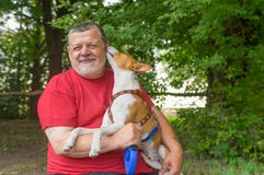 Ьan taking young basenji that whisper in master`s ear it loves him. Bearded senior man taking young basenji that whisper in master`s ear it loves him royalty free stock images