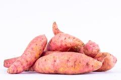Ñame orgánico de la patata dulce en la comida sana de la fruta del fondo blanco aislada Imágenes de archivo libres de regalías
