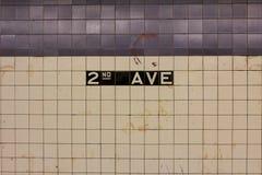 ò Sinal da estação da avenida Fotografia de Stock