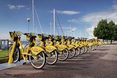 Żółci bicykle dla czynszu Zdjęcie Royalty Free