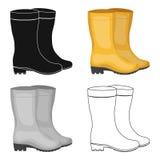 Żółci gumowi wodoodporni buty dla kobiet pracować w ogródzie Gospodarstwa rolnego i ogrodnictwa pojedyncza ikona w kreskówce proj Obraz Royalty Free