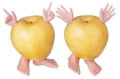 Żółci jabłko charaktery Fotografia Royalty Free