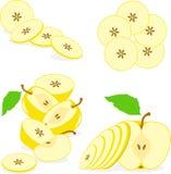 Żółci jabłko plasterki, kolekcja ilustracje Fotografia Royalty Free