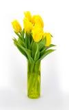 Żółci tulipany w przejrzystej wazie Zdjęcia Stock