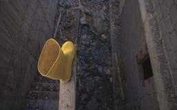 Żółci Wellington Podeszczowi buty obrazy royalty free