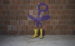 Żółci Wellington Podeszczowi buty Graffiti postać zdjęcie royalty free