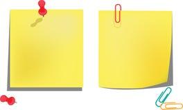 Żółci zawiadomienie papiery odizolowywający na bielu Ilustracji