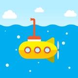 Żółta łódź podwodna bada pod oceanem Zdjęcie Royalty Free