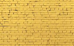 Żółta ściana z cegieł tła fotografii tekstura Obraz Royalty Free