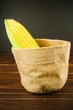 Żółta świeża kukurudza w workowej torbie obraz stock