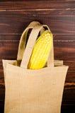 Żółta świeża kukurudza w workowej torbie Obraz Royalty Free