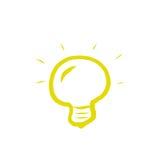Żółta żarówka na Białym tle Zdjęcia Stock