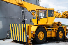 Żółta żuraw ciężarówka Fotografia Royalty Free