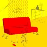 Żółta żywa izbowa czerwona kanapa Obrazy Stock