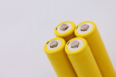 Żółta bateria Fotografia Stock