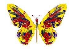 Żółta czerwona błękitna farba malujący motyl Zdjęcie Stock
